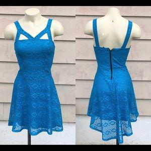 Material Girl XS Hi Low Blue Cutout Tank Dress